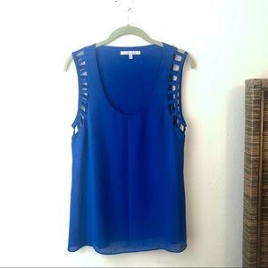 ♥️ Naked Zebra Blue Silky Lattice Sleeveless Top